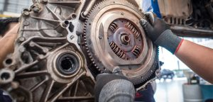 Flywheel and clutch assembly in gearbox - Clutch replacement at Cranmore Garage in Solihull